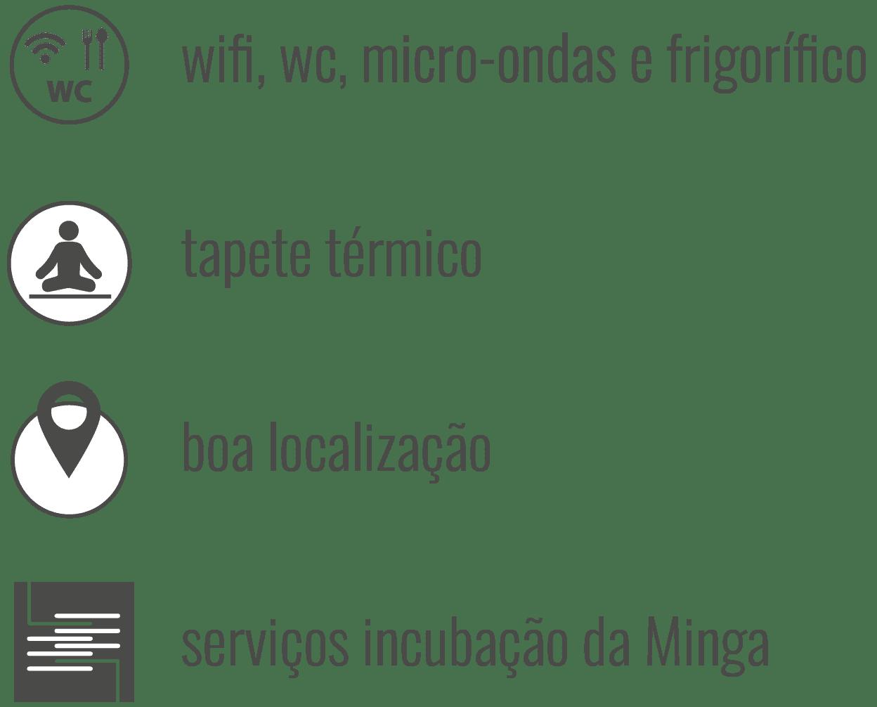 Condições: wifi, wc, micro-ondas, frigorífico, tapete térmico, boa localização, serviços incubação Minga